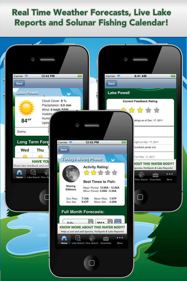 iFish Arizona App Solunar Calendar, Weather Reports and Lake Reports